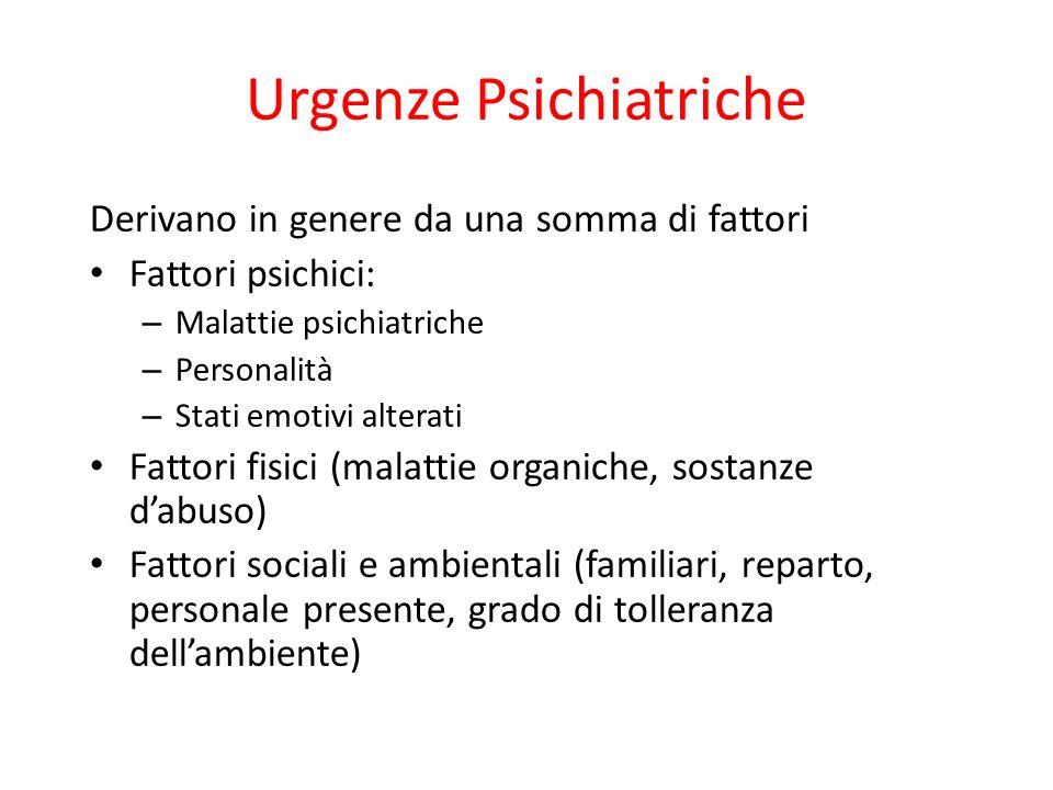 Urgenze Psichiatriche Derivano in genere da una somma di fattori Fattori psichici: – Malattie psichiatriche – Personalità – Stati emotivi alterati Fat