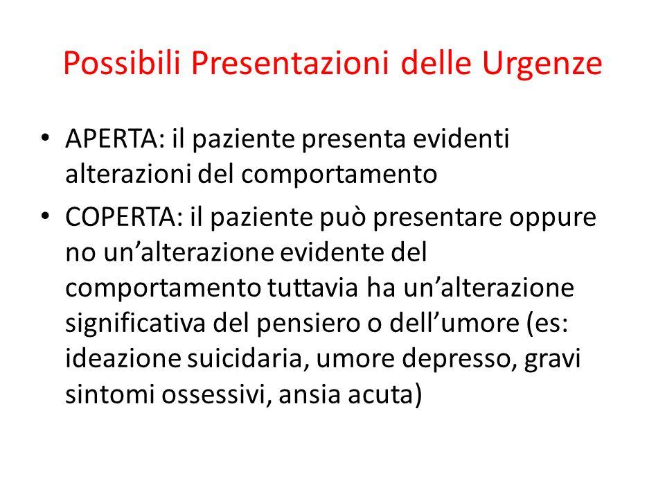 Possibili Presentazioni delle Urgenze APERTA: il paziente presenta evidenti alterazioni del comportamento COPERTA: il paziente può presentare oppure n
