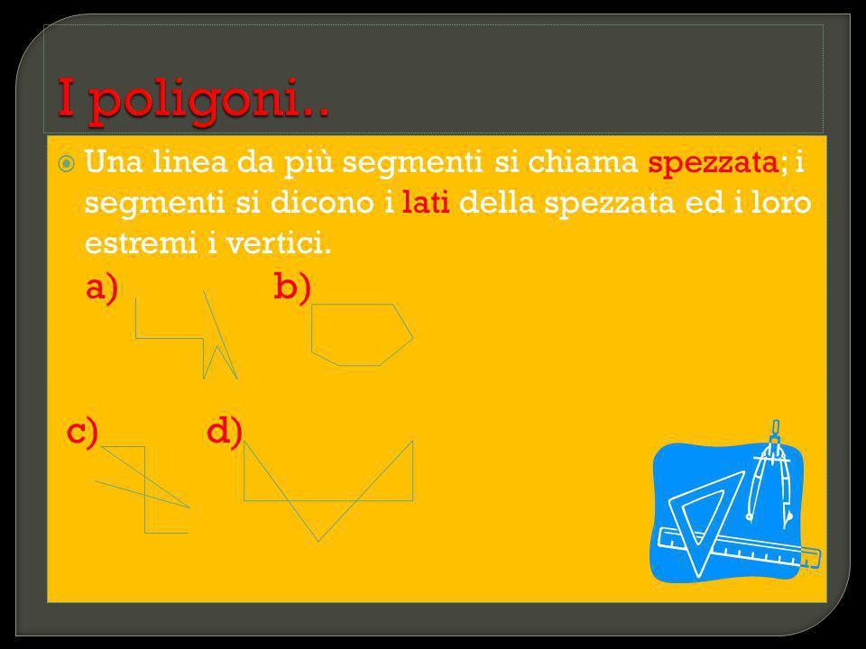 Una linea da più segmenti si chiama spezzata; i segmenti si dicono i lati della spezzata ed i loro estremi i vertici. a) b) c) d)