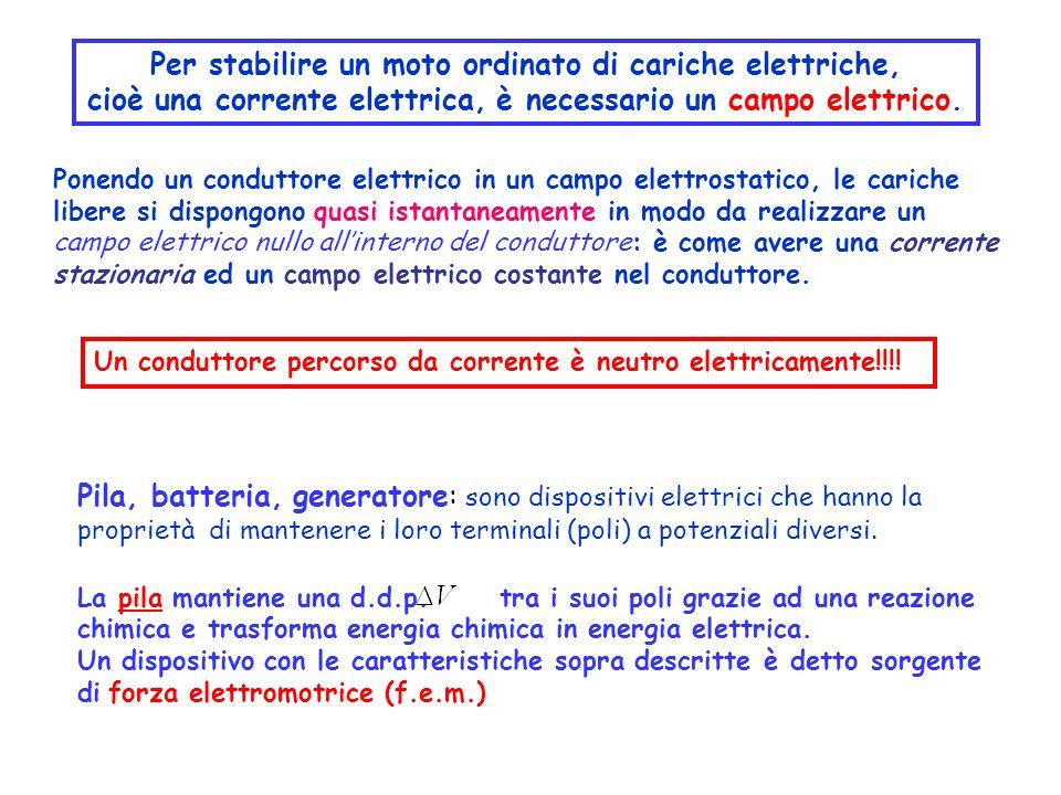 Pila, batteria, generatore: sono dispositivi elettrici che hanno la proprietà di mantenere i loro terminali (poli) a potenziali diversi. La pila manti