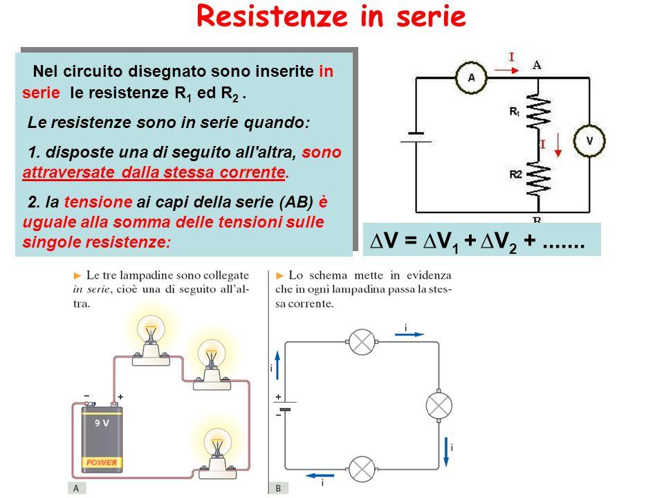 Resistenze in serie V = V 1 + V 2 +....... Nel circuito disegnato sono inserite in serie le resistenze R 1 ed R 2. Le resistenze sono in serie quando: