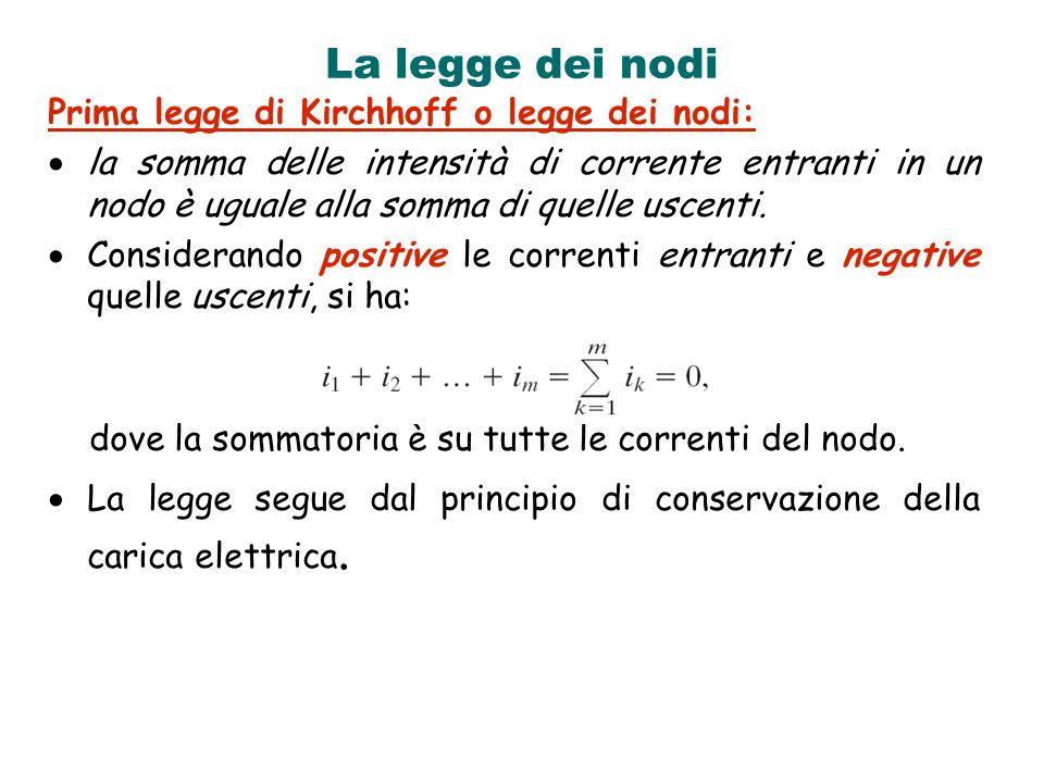 La legge dei nodi Prima legge di Kirchhoff o legge dei nodi: la somma delle intensità di corrente entranti in un nodo è uguale alla somma di quelle us