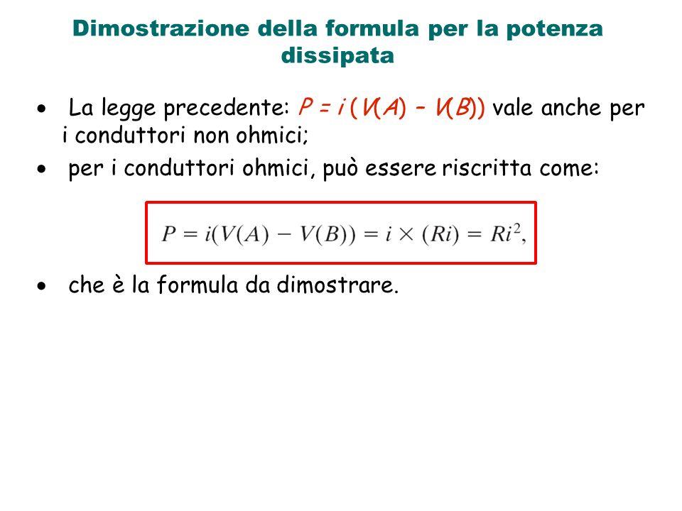 Dimostrazione della formula per la potenza dissipata La legge precedente: P = i (V(A) – V(B)) vale anche per i conduttori non ohmici; per i conduttori