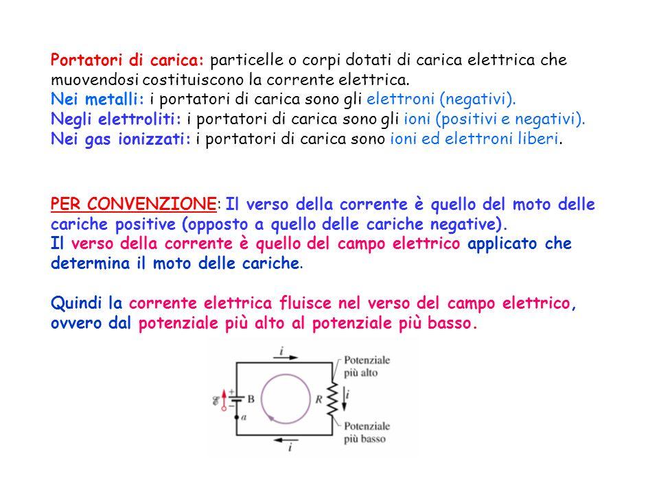 Portatori di carica: particelle o corpi dotati di carica elettrica che muovendosi costituiscono la corrente elettrica. Nei metalli: i portatori di car