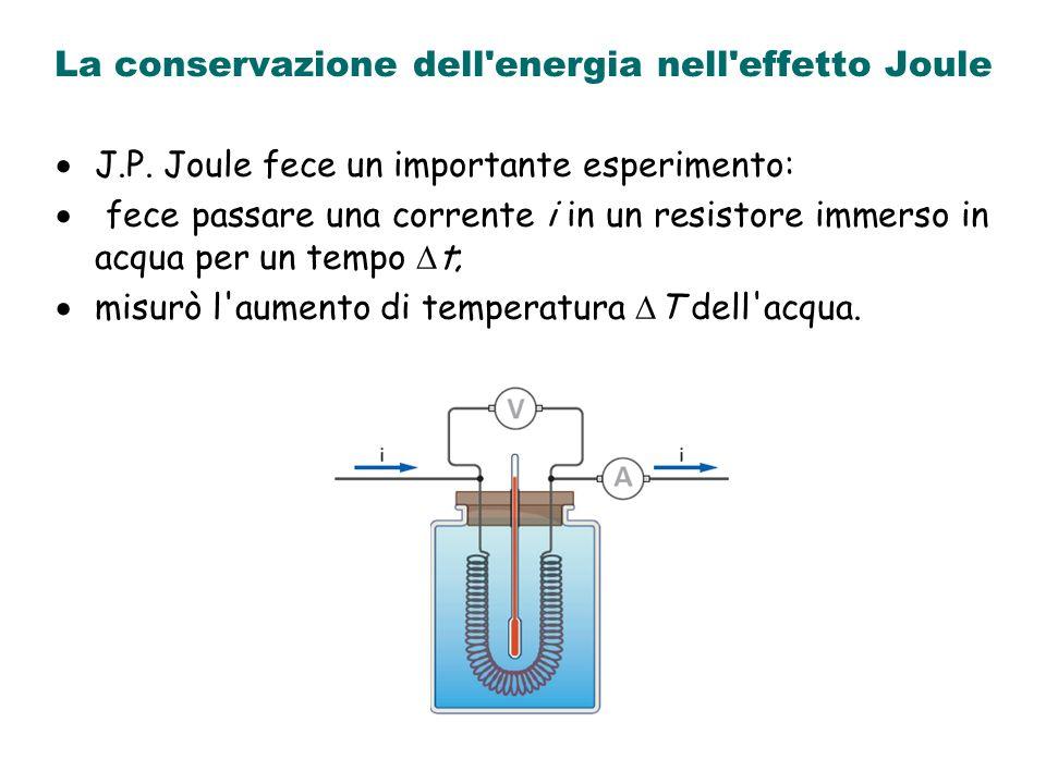 La conservazione dell'energia nell'effetto Joule J.P. Joule fece un importante esperimento: fece passare una corrente i in un resistore immerso in acq