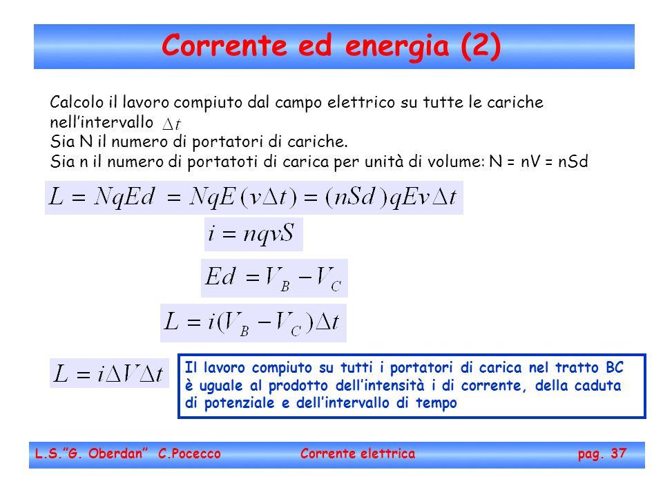 Corrente ed energia (2) L.S.G. Oberdan C.Pocecco Corrente elettrica pag. 37 Calcolo il lavoro compiuto dal campo elettrico su tutte le cariche nellint