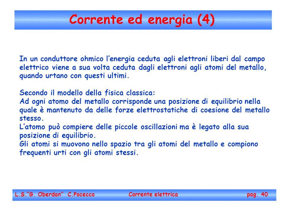Corrente ed energia (4) L.S.G. Oberdan C.Pocecco Corrente elettrica pag. 40 In un conduttore ohmico lenergia ceduta agli elettroni liberi dal campo el