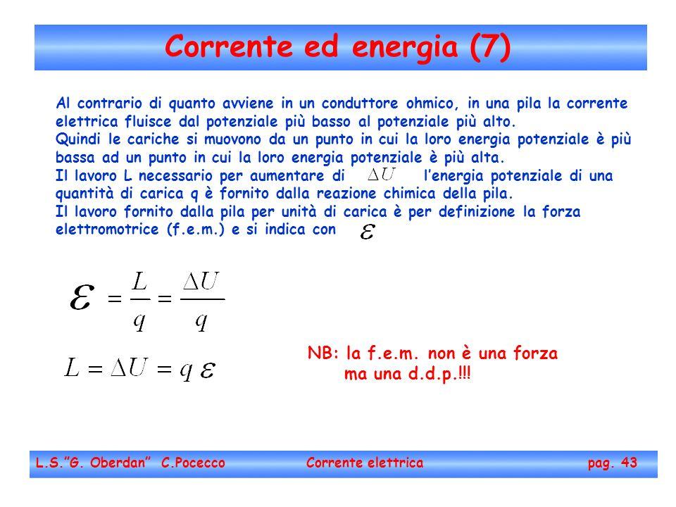 Corrente ed energia (7) L.S.G. Oberdan C.Pocecco Corrente elettrica pag. 43 Al contrario di quanto avviene in un conduttore ohmico, in una pila la cor