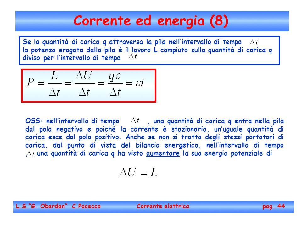 Corrente ed energia (8) L.S.G. Oberdan C.Pocecco Corrente elettrica pag. 44 Se la quantità di carica q attraversa la pila nellintervallo di tempo la p