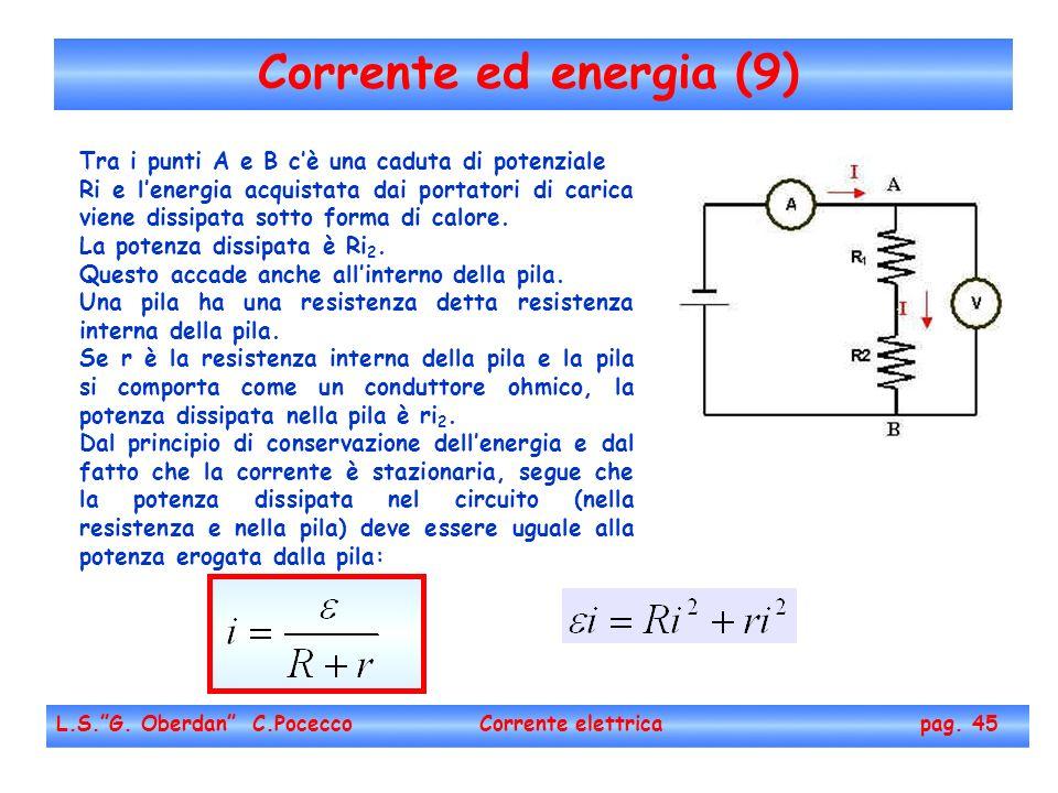 Corrente ed energia (9) L.S.G. Oberdan C.Pocecco Corrente elettrica pag. 45 Tra i punti A e B cè una caduta di potenziale Ri e lenergia acquistata dai