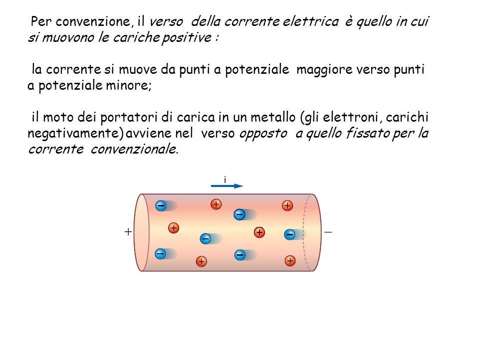 Per convenzione, il verso della corrente elettrica è quello in cui si muovono le cariche positive : la corrente si muove da punti a potenziale maggior