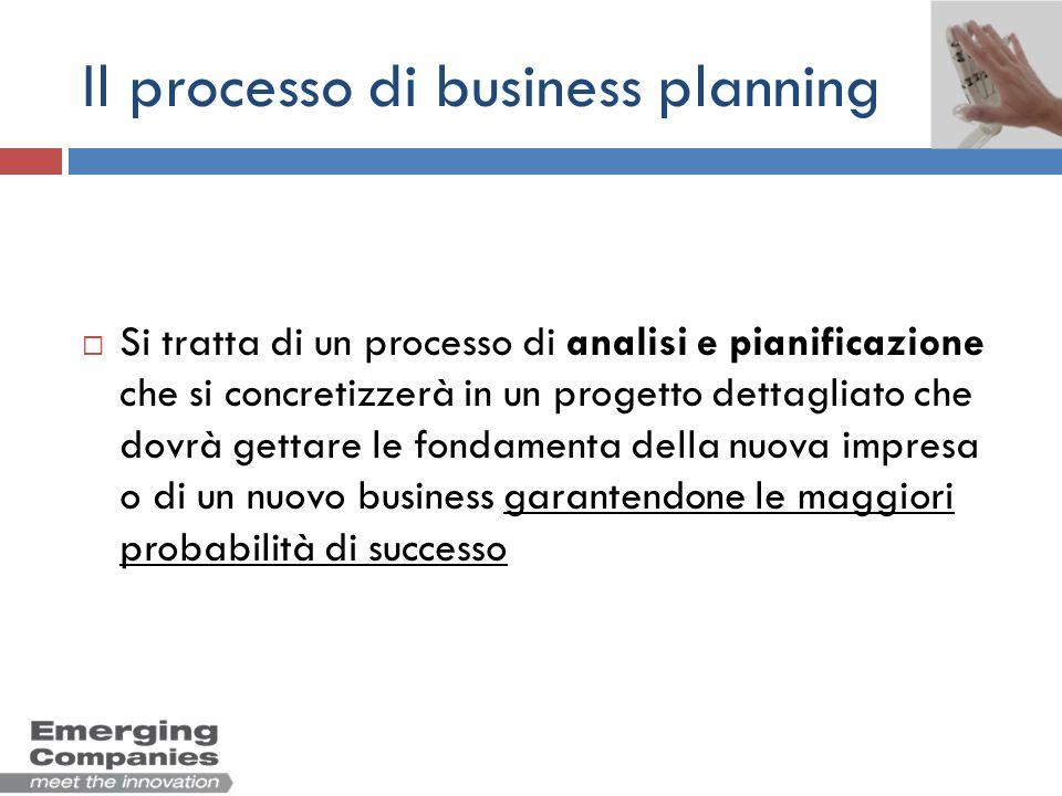 Il processo di business planning Si tratta di un processo di analisi e pianificazione che si concretizzerà in un progetto dettagliato che dovrà gettar