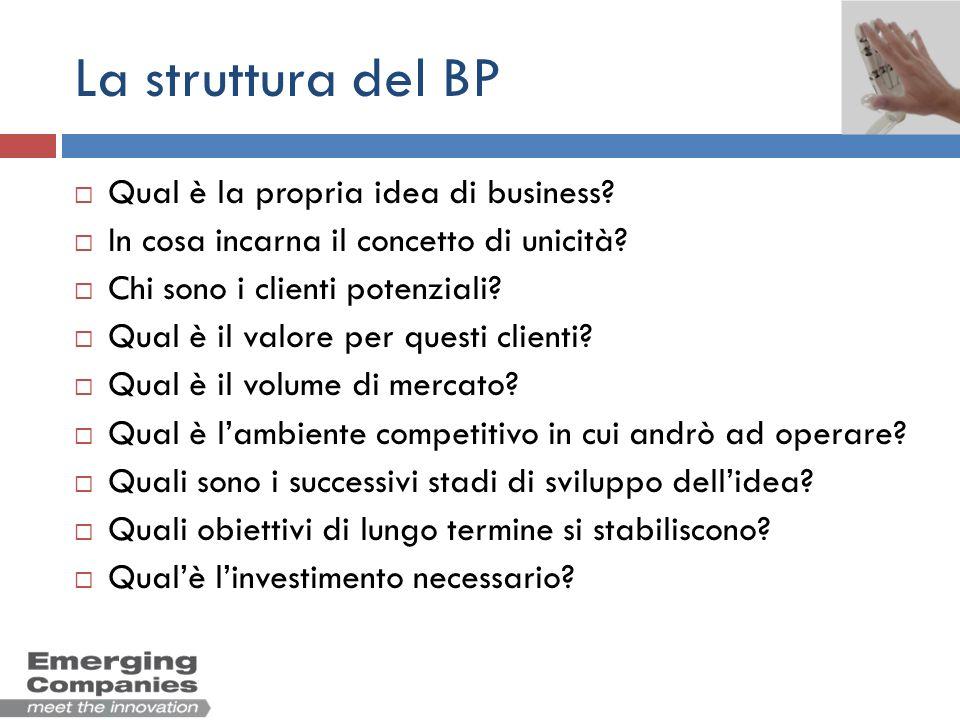 La struttura del BP Qual è la propria idea di business? In cosa incarna il concetto di unicità? Chi sono i clienti potenziali? Qual è il valore per qu