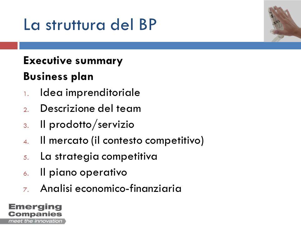 La struttura del BP Executive summary Business plan 1. Idea imprenditoriale 2. Descrizione del team 3. Il prodotto/servizio 4. Il mercato (il contesto