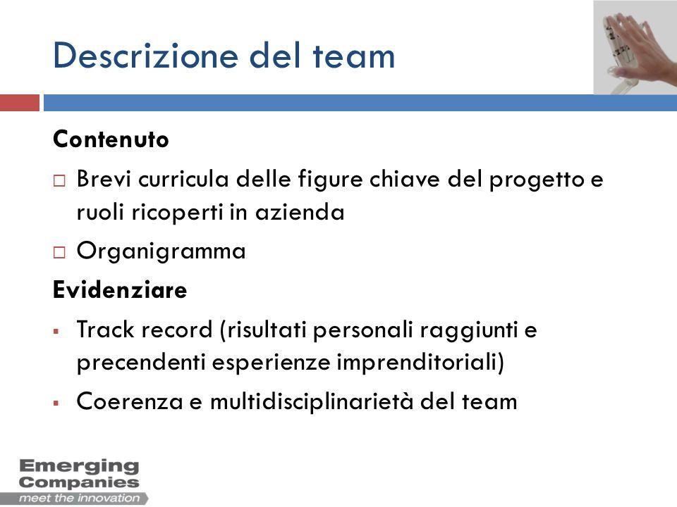 Descrizione del team Contenuto Brevi curricula delle figure chiave del progetto e ruoli ricoperti in azienda Organigramma Evidenziare Track record (ri