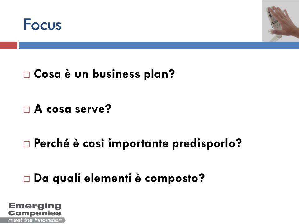 Focus Cosa è un business plan? A cosa serve? Perché è così importante predisporlo? Da quali elementi è composto?