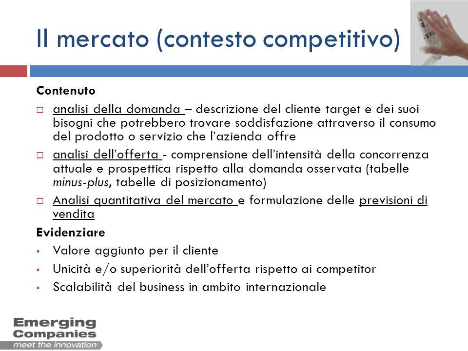 Il mercato (contesto competitivo) Contenuto analisi della domanda – descrizione del cliente target e dei suoi bisogni che potrebbero trovare soddisfaz