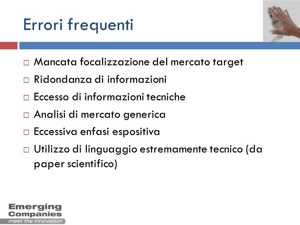 Errori frequenti Mancata focalizzazione del mercato target Ridondanza di informazioni Eccesso di informazioni tecniche Analisi di mercato generica Ecc