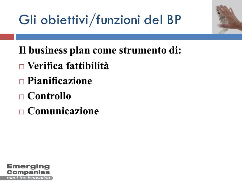 Gli obiettivi/funzioni del BP Il business plan come strumento di: Verifica fattibilità Facilita la comprensione dellambiente circostante Evidenzia punti di debolezza del progetto Valuta la rimuneratività del progetto Quantifica lentità del fabbisogno finanziario