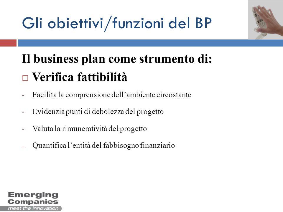 Gli obiettivi/funzioni del BP Il business plan come strumento di: Verifica fattibilità Pianificazione Definizione della vision Definizione degli obiettivi strategici e delle attività da porre in essere per raggiungerli Definizione dellorganizzazione (persone, ruoli, responsabilità) coerentemente con gli obiettivi