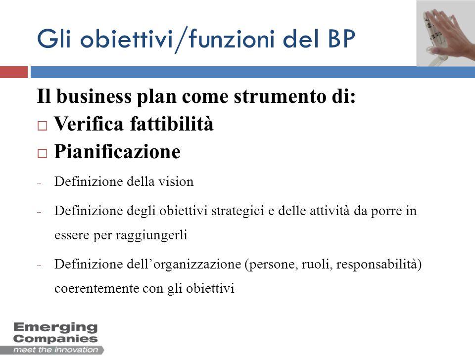 Gli obiettivi/funzioni del BP Il business plan come strumento di: Verifica fattibilità Pianificazione Controllo Valutazione dei risultati ottenuti rispetto alle previsioni Analisi dei motivi che hanno generato gli scostamenti
