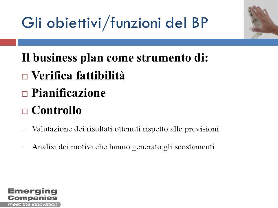 Gli obiettivi/funzioni del BP Il business plan come strumento di: Verifica fattibilità Pianificazione Controllo Valutazione dei risultati ottenuti ris