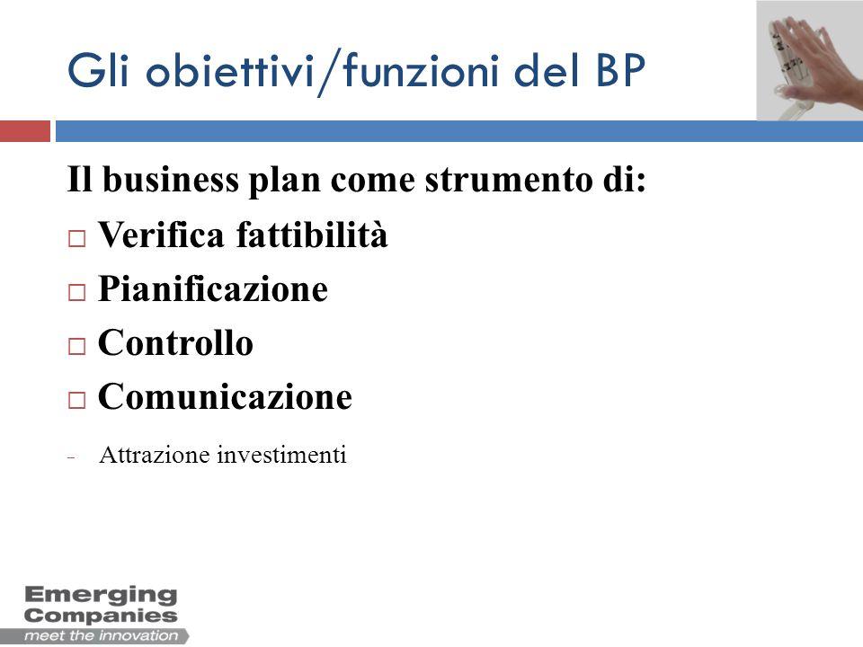 Gli obiettivi/funzioni del BP Il business plan come strumento di: Verifica fattibilità Pianificazione Controllo Comunicazione Attrazione investimenti