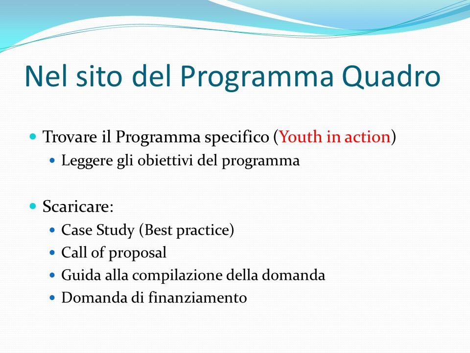 Nel sito del Programma Quadro Trovare il Programma specifico (Youth in action) Leggere gli obiettivi del programma Scaricare: Case Study (Best practice) Call of proposal Guida alla compilazione della domanda Domanda di finanziamento