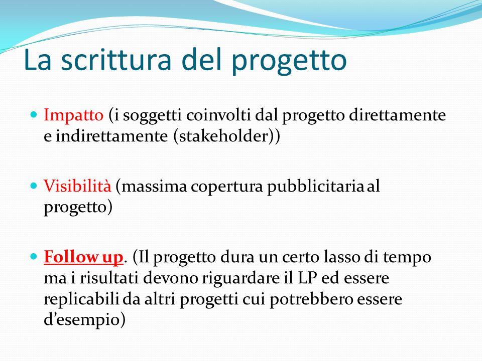 La scrittura del progetto Impatto (i soggetti coinvolti dal progetto direttamente e indirettamente (stakeholder)) Visibilità (massima copertura pubblicitaria al progetto) Follow up.