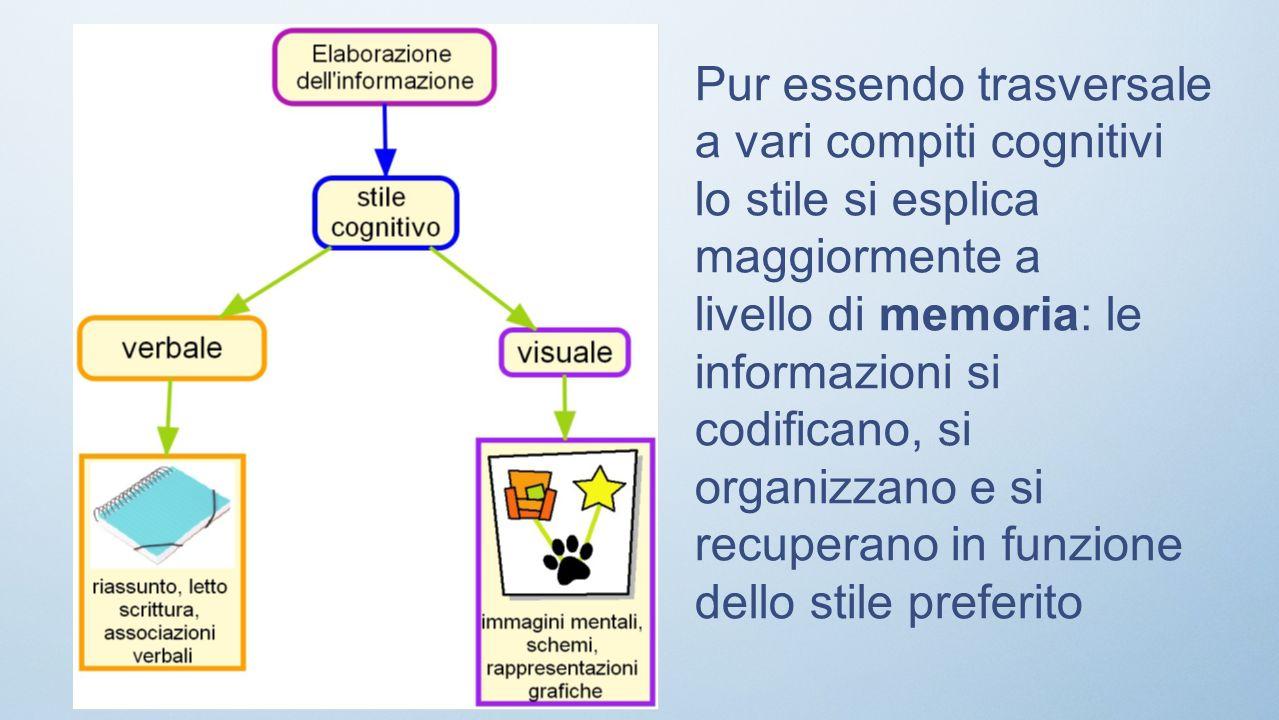 Pur essendo trasversale a vari compiti cognitivi lo stile si esplica maggiormente a livello di memoria: le informazioni si codificano, si organizzano e si recuperano in funzione dello stile preferito