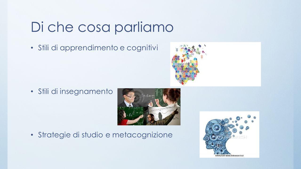 Di che cosa parliamo Stili di apprendimento e cognitivi Stili di insegnamento Strategie di studio e metacognizione