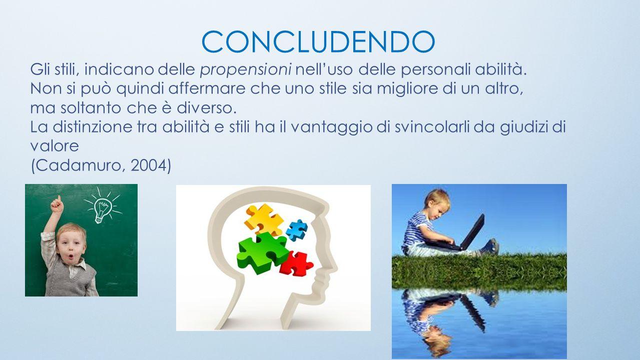 CONCLUDENDO Gli stili, indicano delle propensioni nelluso delle personali abilità.