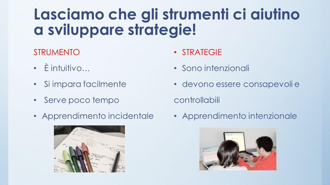 Lasciamo che gli strumenti ci aiutino a sviluppare strategie.
