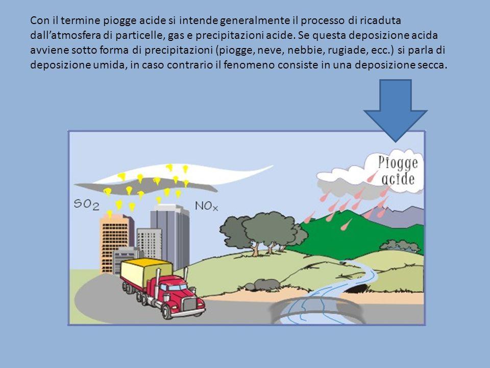 Con il termine piogge acide si intende generalmente il processo di ricaduta dallatmosfera di particelle, gas e precipitazioni acide. Se questa deposiz