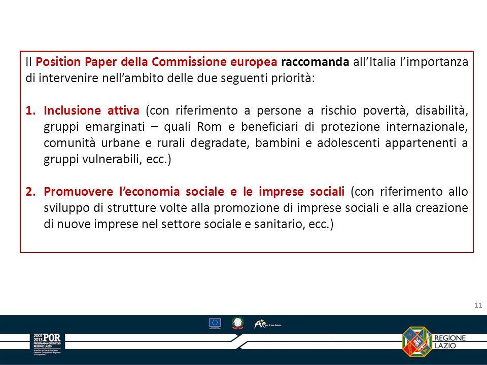 Il Position Paper della Commissione europea raccomanda allItalia limportanza di intervenire nellambito delle due seguenti priorità: 1.Inclusione attiv
