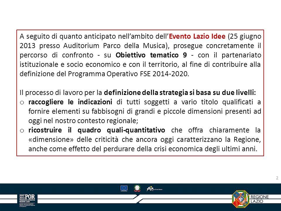 A seguito di quanto anticipato nellambito dellEvento Lazio Idee (25 giugno 2013 presso Auditorium Parco della Musica), prosegue concretamente il perco
