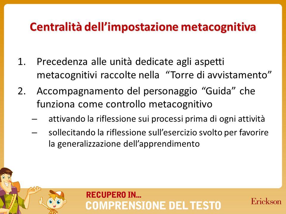 Centralità dellimpostazione metacognitiva 1.Precedenza alle unità dedicate agli aspetti metacognitivi raccolte nella Torre di avvistamento 2.Accompagn