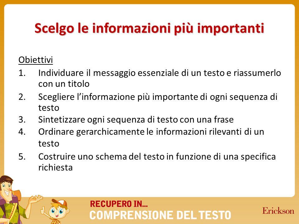 Scelgo le informazioni più importanti Obiettivi 1.Individuare il messaggio essenziale di un testo e riassumerlo con un titolo 2.Scegliere linformazion