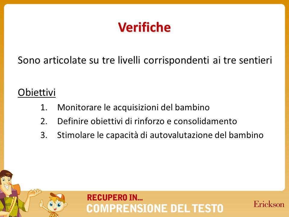 Verifiche Sono articolate su tre livelli corrispondenti ai tre sentieri Obiettivi 1.Monitorare le acquisizioni del bambino 2.Definire obiettivi di rin