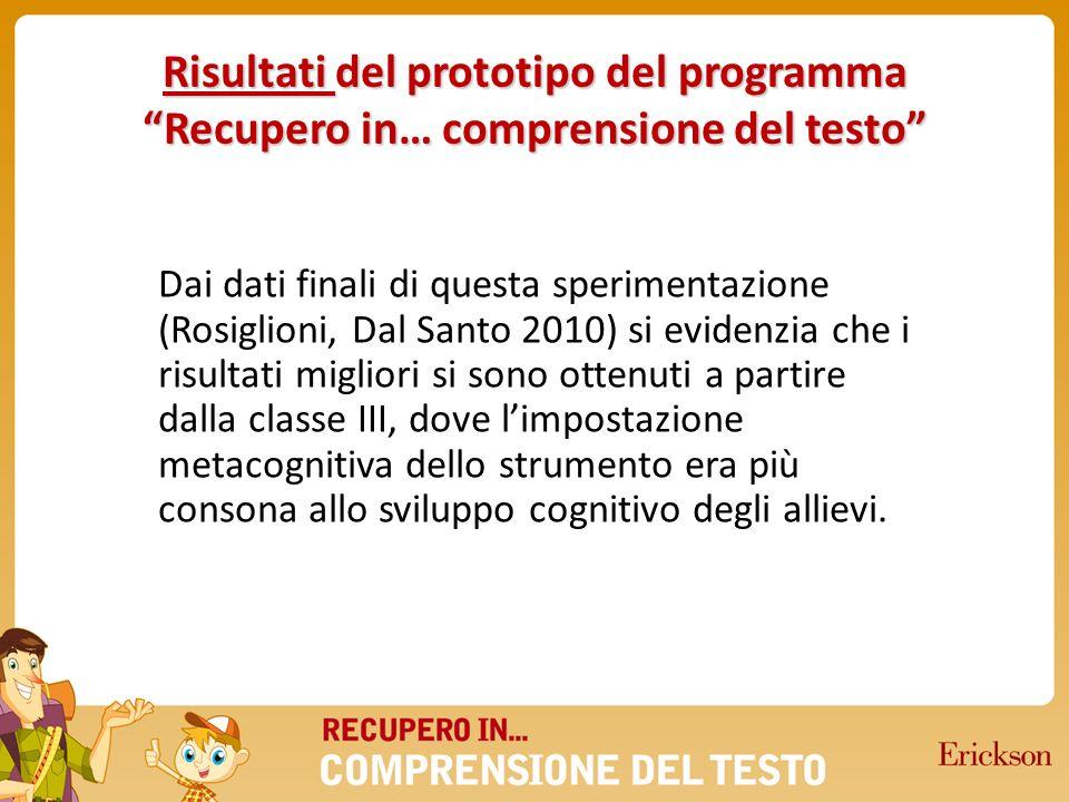 Risultati del prototipo del programma Recupero in… comprensione del testo Dai dati finali di questa sperimentazione (Rosiglioni, Dal Santo 2010) si ev