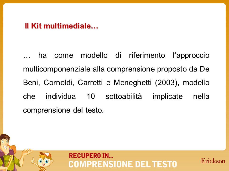 … ha come modello di riferimento lapproccio multicomponenziale alla comprensione proposto da De Beni, Cornoldi, Carretti e Meneghetti (2003), modello