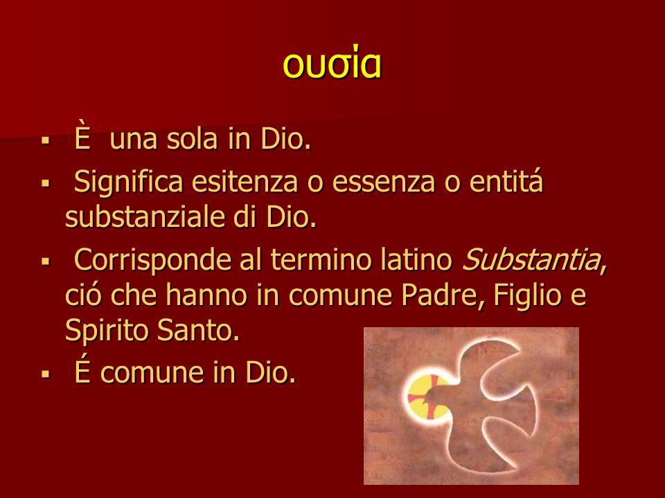 ουσία È una sola in Dio.È una sola in Dio.