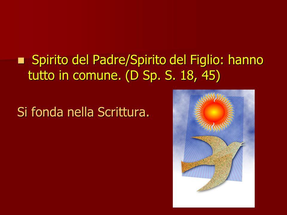 Spirito del Padre/Spirito del Figlio: hanno tutto in comune.