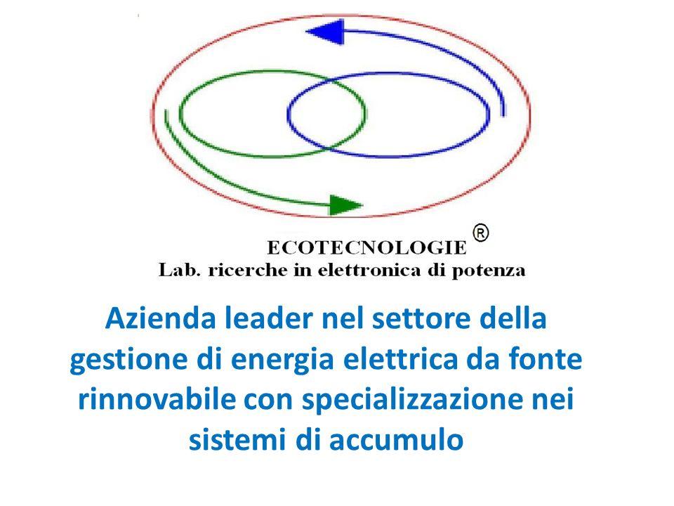 Azienda leader nel settore della gestione di energia elettrica da fonte rinnovabile con specializzazione nei sistemi di accumulo