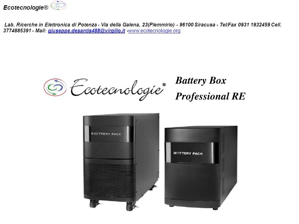 Batterie a piombo ermetiche senza manutenzione Carica batterie interno per ogni singola unità Protezione termica batterie Nessun limite numerico di espandibilità Dimensioni ridotte Facile installazione e manutenzione Garanzia 10 anni Sistema di accumulo esterno Ecotecnologie® Lab.