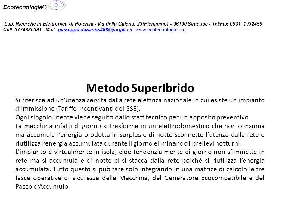 Metodo SuperIbrido Si riferisce ad unutenza servita dalla rete elettrica nazionale in cui esiste un impianto dimmissione (Tariffe incentivanti del GSE).