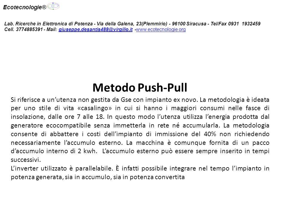 Metodo Push-Pull Si riferisce a unutenza non gestita da Gse con impianto ex novo.