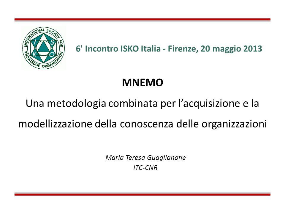 6' Incontro ISKO Italia - Firenze, 20 maggio 2013 MNEMO Una metodologia combinata per lacquisizione e la modellizzazione della conoscenza delle organi