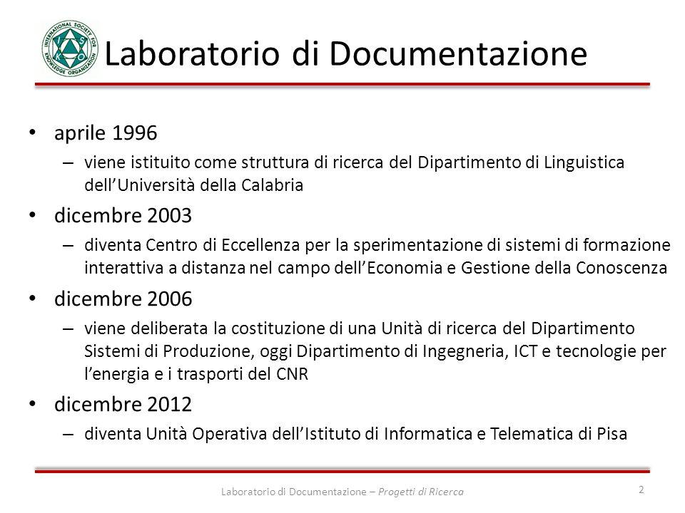 aprile 1996 – viene istituito come struttura di ricerca del Dipartimento di Linguistica dellUniversità della Calabria dicembre 2003 – diventa Centro d