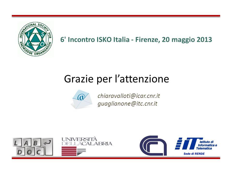 Grazie per lattenzione chiaravalloti@icar.cnr.it guaglianone@itc.cnr.it 6' Incontro ISKO Italia - Firenze, 20 maggio 2013